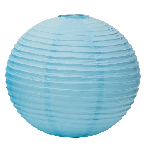 Weddingstar Round Paper Lantern, Medium, Aqua Blue