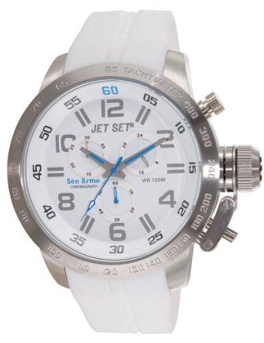 Jet Set J67201-161 - Reloj cronógrafo de cuarzo unisex con correa de caucho, color blanco