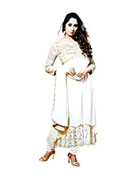 Zerel Women Georgette Salwar Suit Dress Material (Ze-703 _Ghost White _Free Size)