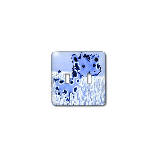 3dRose LLC lsp_32769_2 Cute Blue Giraffe Animals Cartoon Art   Double Toggle Switch