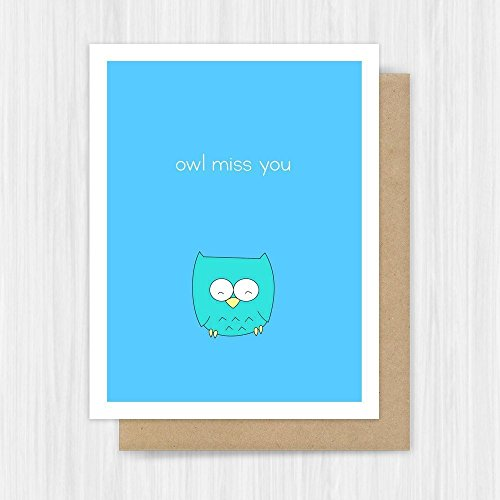 Cute Goodbye Card - I Miss You Card For Friend Her Him - Goodbye Moving Away Missing You - Owl Pun - Handmade Greeting Cards - Owl Miss You