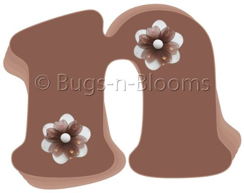 """N"" Brown Daisy Flower Alphabet Letter Name Wall Sticker. Decal Letters For Children'S, Nursery & Baby'S Room Decor, Baby Name Wall Letters, Girls Bedroom Wall Letter Decorations, Child'S Names. Flowers Mural Walls Decals Baby Shower front-1051112"