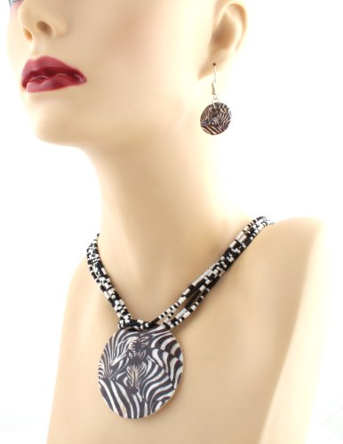 Black with White Zebra Style Pendant and 20 Inch Chain Necklace with Matching Earrings Jewelry Set