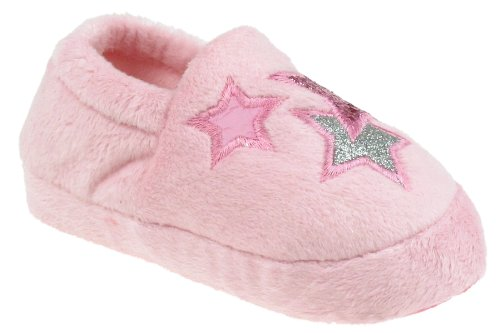 Image of Capelli New York Moccasin With Multi Star Applique Toddler Girls Indoor Slippers Pink Combo Small (B00937Y2FU)