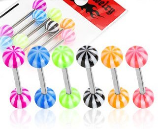 Gekko Body Jewellery 6 Pack of 14 Gauge (1.6mm) Surgical Steel Tongue / Nipple Bars with Candy Stripes UV Balls