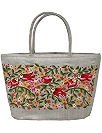 Soulful Threads Cotton Silk Birds & Floral Embroidered Grey Hand Bag