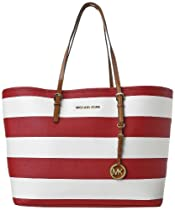 Hot Sale Michael Kors Women's Jet Set Medium Striped Saffiano Travel Tote, Red/White, One Size