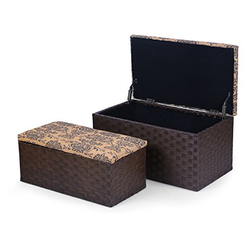Adeco Decorative Fabric Print Lid Storage Ottoman Bench,Two Pieces (Wicker Storage Ottoman compare prices)