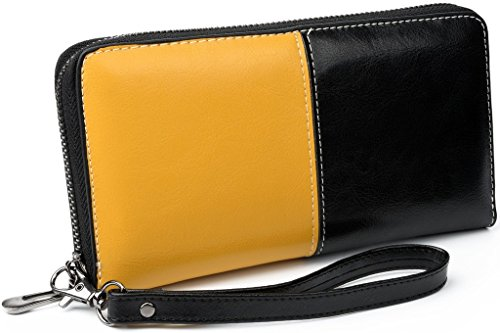 yaluxe-womens-zipper-around-dual-tone-purse-leather-wristlet-wallet-phone-card-holder-gift-box-yello