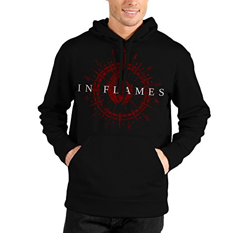 "Felpa Unisex ""In Flames"" - Red logo - Felpa con cappuccio rock band LaMAGLIERIA, L, Nero"