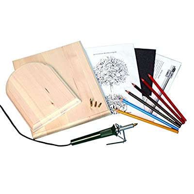 Walnut Hollow Deluxe Woodburning Kit with Woodburning Pen Patterns Color Pencils and Instructions