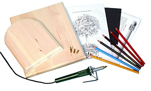 Walnut-Hollow-Deluxe-Woodburning-Kit-with-Woodburning-Pen-Patterns-Color-Pencils-and-Instructions