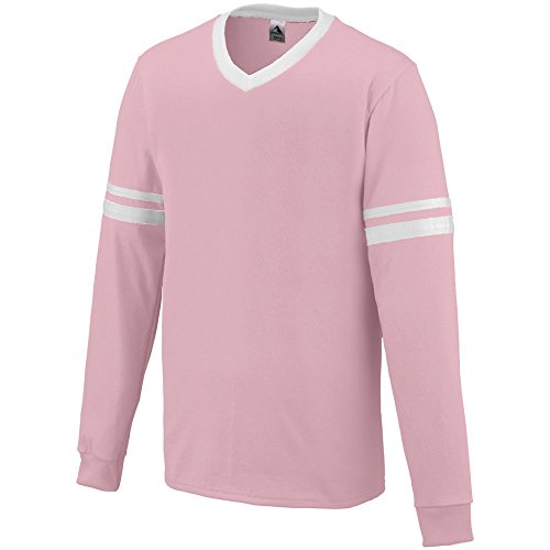 Augusta Sportswear 373 Youth's Long Sleeve Stripe Jersey Light Pink/White L