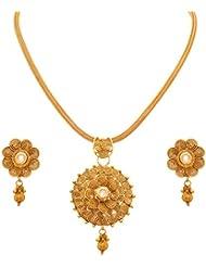 JFL - Traditional Ethnic One Gram Gold Plated Spiral Kundan Designer Pendant Set For Girls And Women