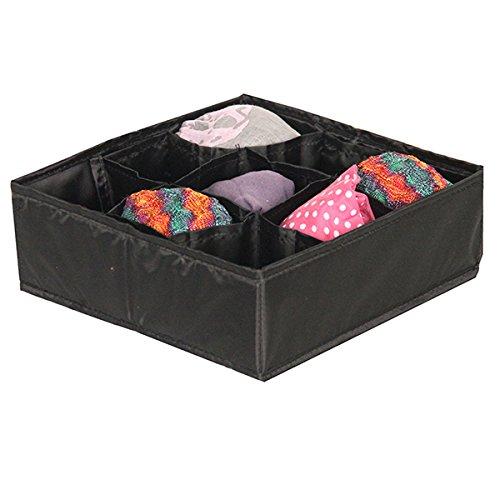 Mondex EVE725-01 Organiseur de Tiroir pour Sous Vêtements avec 9 Compartiments Tissu/Plastique Noir 25 x 10 x 2 cm