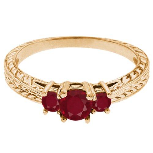 0.58 Ct Round Red SI1/SI2 Ruby 18K Yellow Gold 3-Stone Ring