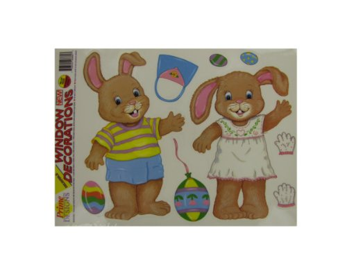 Dress-Up Easter Bunny Window Clings-Package Quantity,100