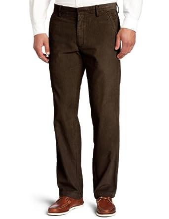 Haggar Men's Life Khaki Corduroy Plain Front Chino Pant,Dark Choc,30x30
