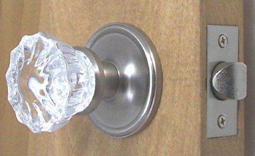 Futed Depression Crystal & Brushed Nickel Premium Passage Door Knob Set. A very special purchase of the Finest Crystal Glass Passage Door set, with all the hardware needed to install on interior or exterior passage doors.All parts are Premium Grade.
