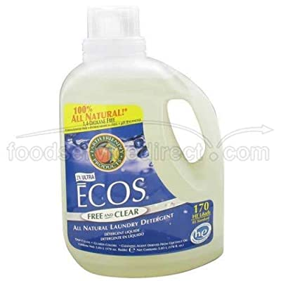 Earth Friendly 2X Ultra Ecos Free and Clear Laundry Detergent Liquid, 170 Fluid Ounce -- 2 per case.