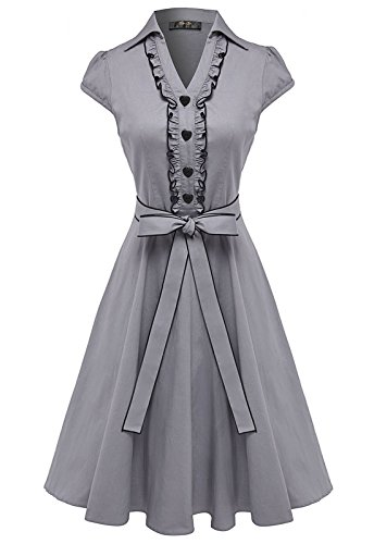Anni Coco Women's 1950s Cap Sleeve Swing Vintage Party Dresses Stretchy Grey X-Large