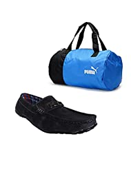 Elligator Black Stylish Sport Shoes With Puma Duffle Bag For Men's