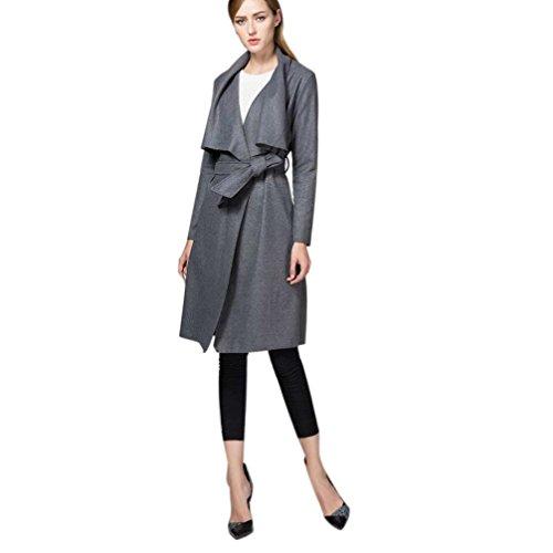 FAPIZI ♥ Women Coat ♥ Women's Slim Long Coat Jacket Trench Windbreaker Parka Outwear Cardigan (S, Dark Gray)