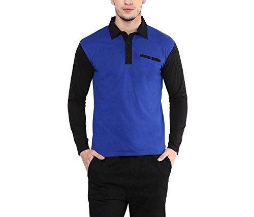 Hypernation-Royal-Blue-and-Black-Color-Cotton-Polo-T-shirt-For-Men