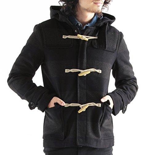 メルトンウールダッフルコート ダッフルコート ダッフル ジャケット コート メンズ Mサイズ ネイビー×チャコールグレー