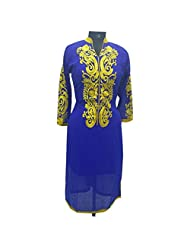Blue Georgette Fabric Party Wear Kurti With Yoke Embroidery