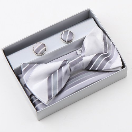 Grey Stripes Silk Pre-tied Bowtie, Cufflinks, Hanky Present Box Set dark grey discount bowtie Pointe BT2084