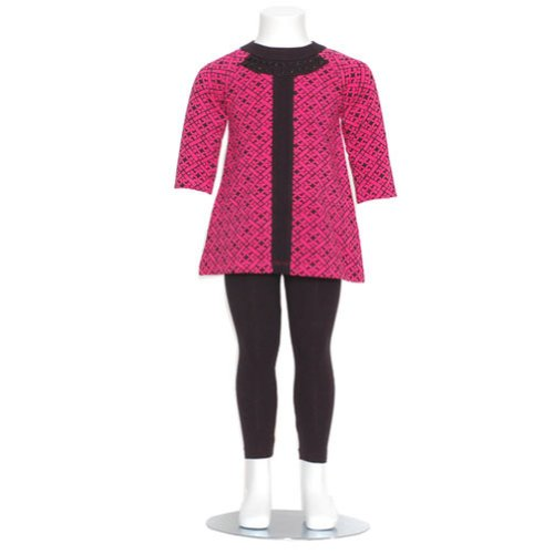Nicole Miller Baby Girls Size 12M Fuchsia Black Designer 2Pc Outfit front-798921