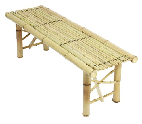 ProSource Tiki Bamboo Bench Tropical Coffee Table for Patio Bar photo