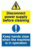 Disconnect power supply before cleaning. Keep hands clear when the machine is in - Warning Sign