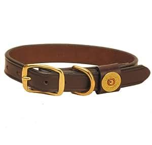Tory Leather Shot Shell Dog Collar - Havana