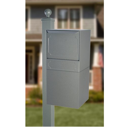 dVault Full Service Locking Mailbox, Gray Post/Column Mount Delivery Vault, Box and Side Mount In-Ground Post Kit, DVU0050-SMPI-2-KIT, Gray