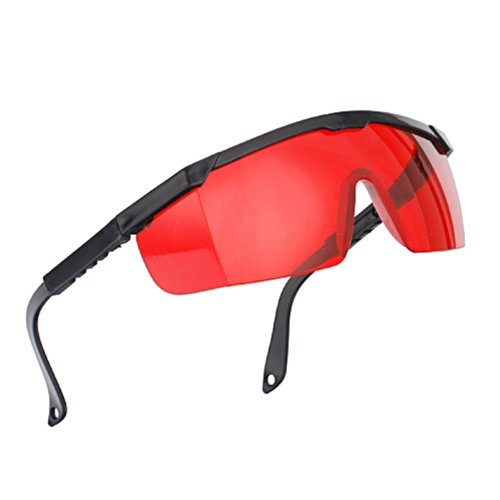 HDE Laser Eye Protection Safety Glasses for Green and Blue Lasers with Case (Red)