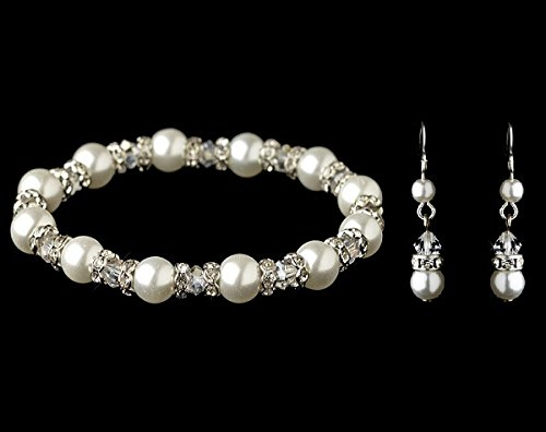 White Pearl & Crystal Bracelet and Earring Set Bridesmaid Jewelry