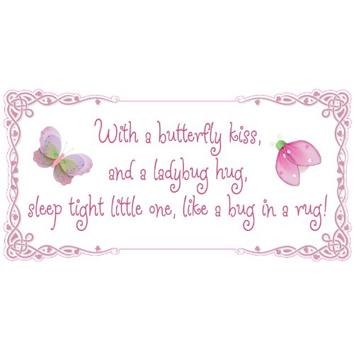 With a butterfly kiss, and a ladybug hug, sleep tight little one, like a bug in a rug! Removable Wall Vinyl Sticker - stickers art sayings quote butterflies ladybugs lady bug nursery girl room decor baby nursery girls decor decoration decorations
