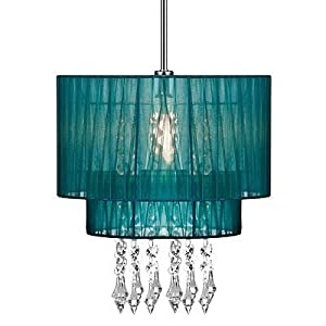 Pendant Shade Beaded Ceiling Light Chandelier Teal Voile Lampshade  from Premier Houserwares by Home Discount