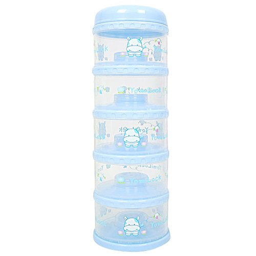Global Shipping yomilock / Five Powder Milk Container / Portable Powder Milk Container / Cute (Blue)