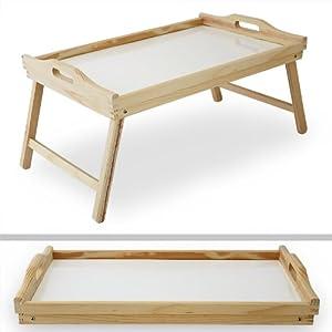 Vassoio da letto 50 x 33 cm pieghevole legno naturale - Vassoio colazione letto ...