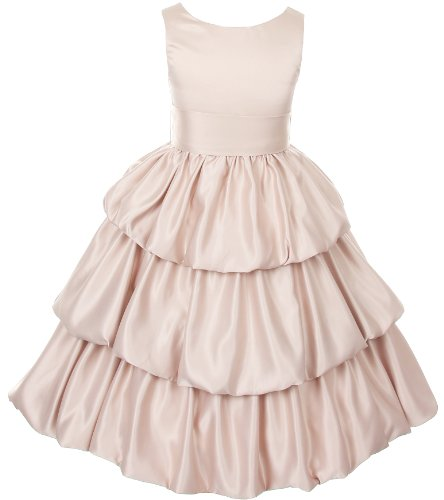 Tiered Satin Pageant Party Communion Flower Girl Dress - Champagne 12
