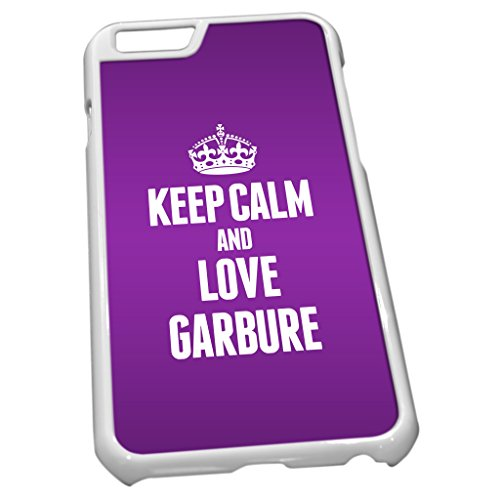 Blanc Coque pour iPhone 6 1111 violet Keep Calm and Love Garbure