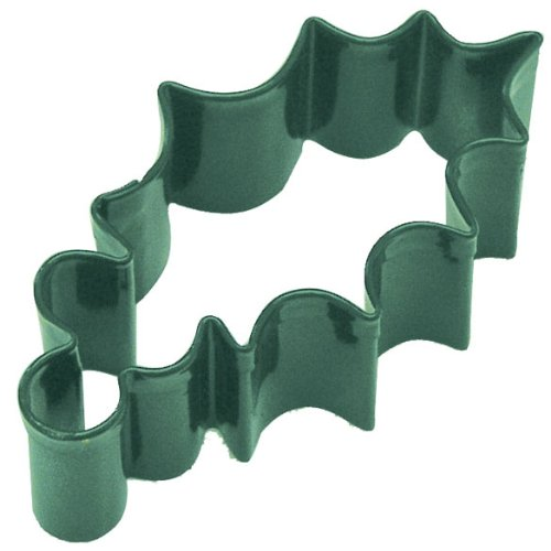 Holly Leaf Green Poly Resin Coated Tin Cookie Cutter 2.25