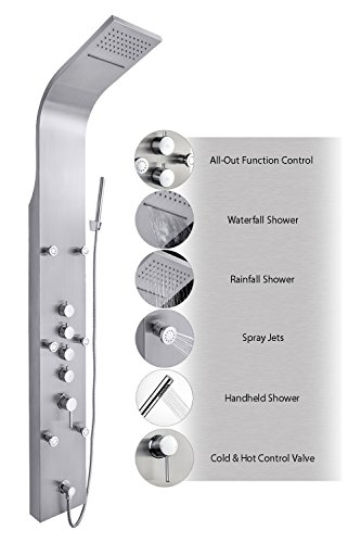 "Lowest Prices! AKDY JX-9821 AZ-9821 65"" Stainless Steel Rain Waterfall, Massage Jets & Rain..."