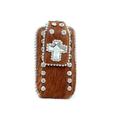Montana West Genuine Leather Cowhide iPhone iPod Case with Rhinestone -Brown