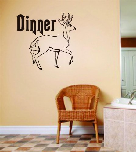 Dinner Lettering Letters Deer Image Animal Hunting Hunter Man With Gun picture Art - Boys Kids Bed Room Sports Hobby - Peel & Stick Sticker - Vinyl Wall Decal - Size : 14 Inches X 14 Inches - 22 Colors Available