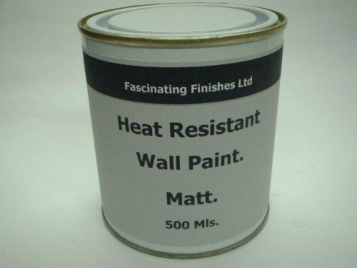 1 x 500 Mls Matt Jet Black Heat Resistant Wall Paint. Wood Burner Stove Alcove. Brick, Concrete, Plaster, Cement Board, Rendering, Metal, Timber etc.