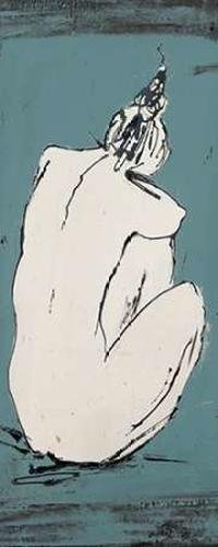 """Nude Sketch on Blue I by Patricia Pinto - 12"""" x 30"""" Premium Canvas Print"""